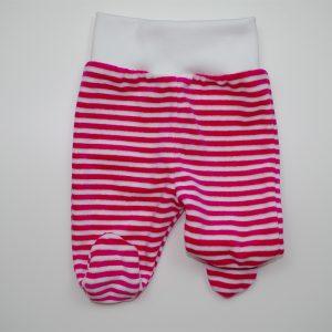 Baby hlače sa stopalicama pliš, pink-bijele pruge K10520