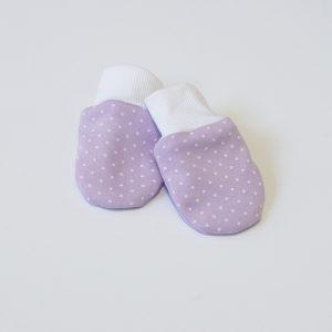 Baby rukavice lila s točkicama