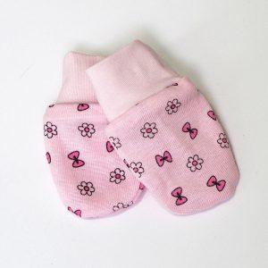 Baby rukavice roze- mašnice i cvjetići