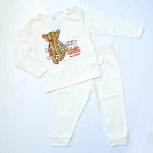 Pidžama vanilija, zeleno-crveni medo