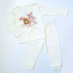 Pidžama vanilija, smeđi medo kockice