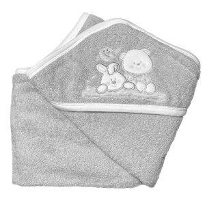 Baby ručnik s kapuljačom – sivi 12018