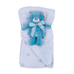 Jungle dekica s igračkom-plavi medo , 90x75cm