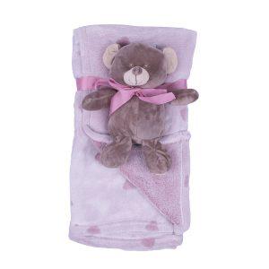 Jungle dekica s igračkom-rozi medo , 90x75cm