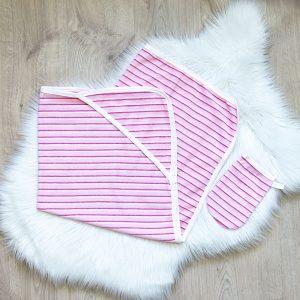 Kretex baby ručnik s kapuljačom + trljačica rozi