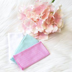 Krpice za brisanje 3/1 – roza, tirkizna, bijela