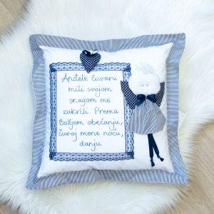 Jastuk anđeo – tamno plavi, prugice 5776