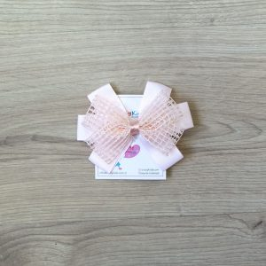 Ukosnica za kosu, mrežasta mašna – roza
