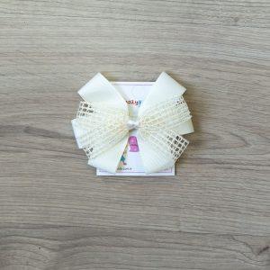 Ukosnica za kosu – mrežasta mašna – vanilija