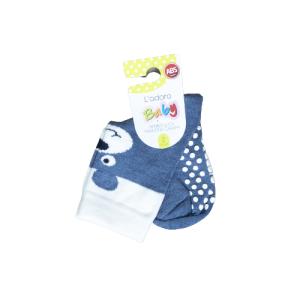 L`adoro pamučne neklizajuće čarape – plavi medo 11599