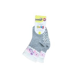 L`adoro pamučne neklizajuće čarape – sive sa rozim 11599