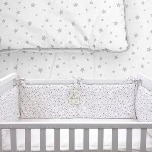 Ogradica za krevetić – Zvjezdice siva 14698