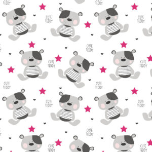 "Tetra pelena 1kom – ""Cute Teddy"" (roze zvjezdice) K10993"