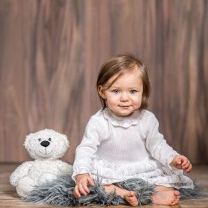 Artex baby pleteni komplet (haljina i kapa) – bijeli 15615