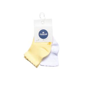 Caramell čarapice (0-6mj) 2/1 – žute i bijele, 15705